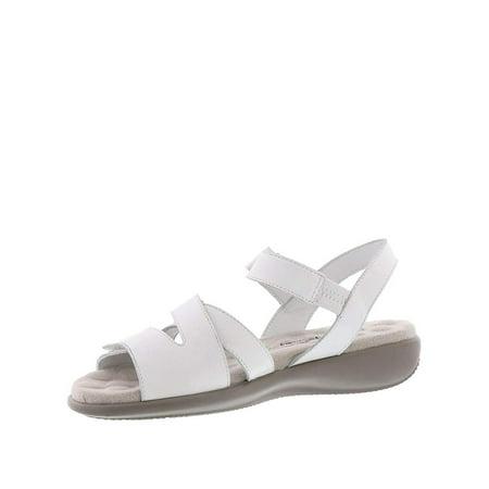Walking Cradles Womens Sandrine Leather Open Toe Casual Slingback Sandals