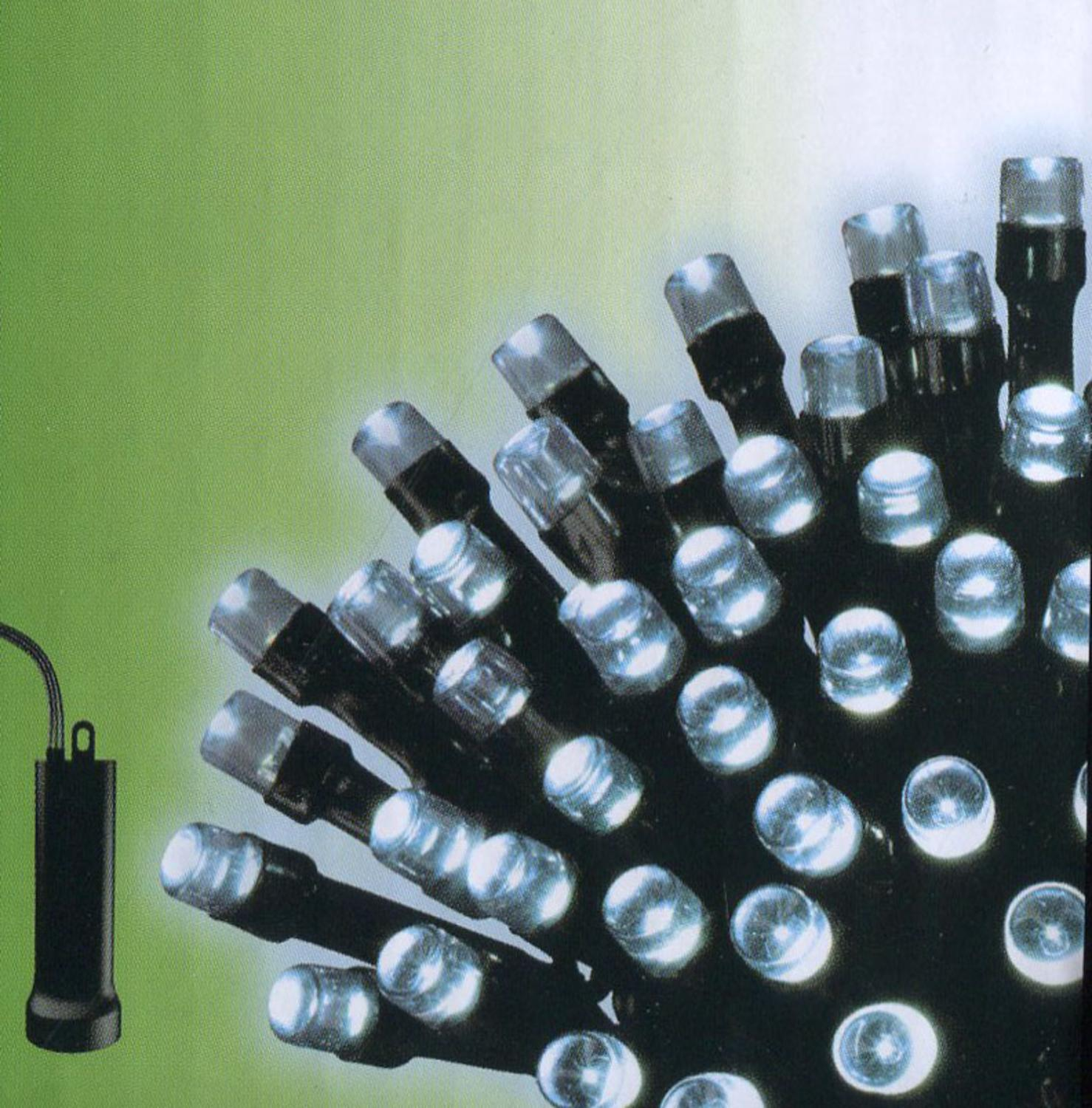 Set of 96 Cool White LED Battery Operated 8-Function Christmas Lights - Black Wire