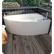 "Neptune 10.15516.5000.10 WI60D 60"" White Corner Bathtub with Skirt, Right Side Drain & Integrated Tiling Flange"