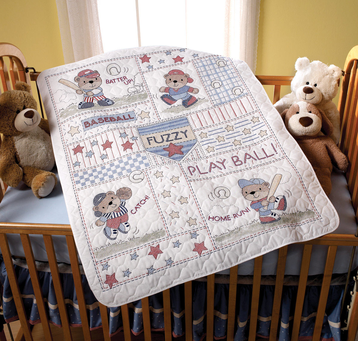 "Bucilla Baseball Buddies Crib Cover Stamped Cross Stitch Kit, 34"" x 43"""
