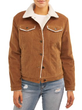 Time and Tru Women's Corduroy Jacket with Shearling Collar