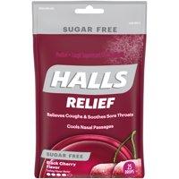 HALLS, Black Sugar Free Cherry Flavor Cough Drops, 25 Pcs