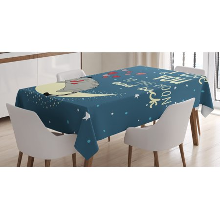 I Love You Tablecloth  Sleepy Cat Holding Hearts Over The Moon At Night Sky Kitty Caricature  Rectangular Table Cover For Dining Room Kitchen  60 X 90 Inches  Slate Blue Grey Ivory  By Ambesonne