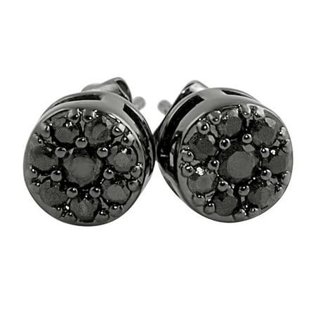 Black Cluster CZ Hip Hop Earrings