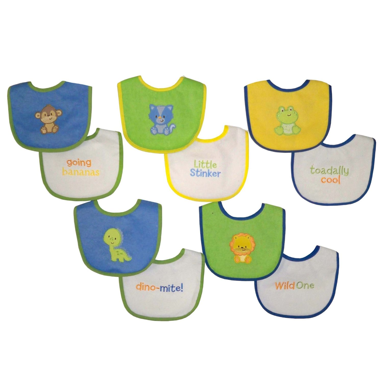 Neat Solutions 10 PK Applique/Sayings Water Resistant Back Bib - Blue