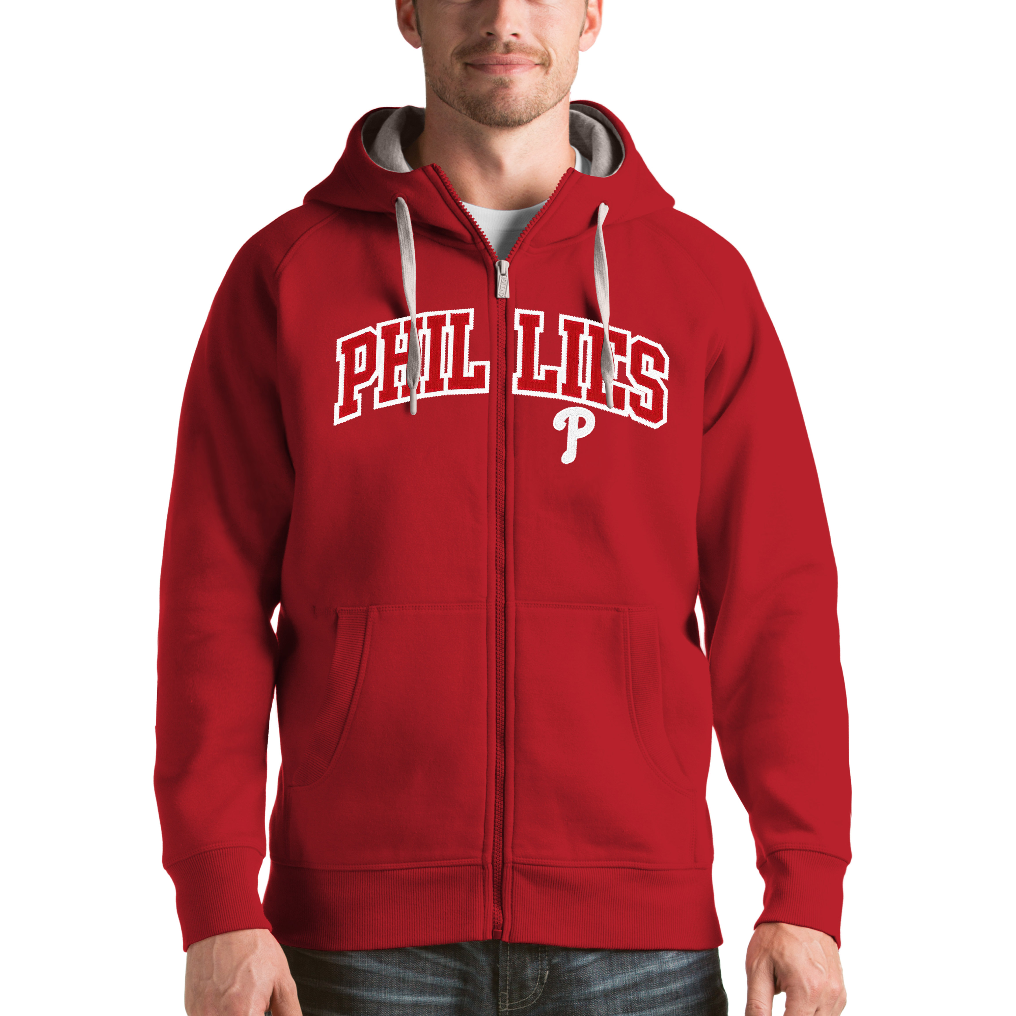 Philadelphia Phillies Antigua Victory Full-Zip Hoodie - Red