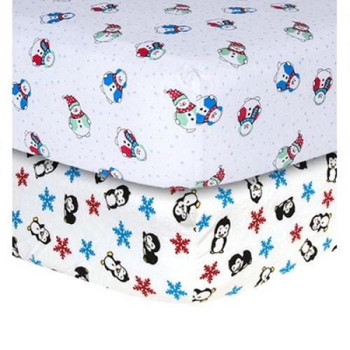 Trend Lab Snowman and Penguin Print Flannel 2 Piece Crib Sheet Set