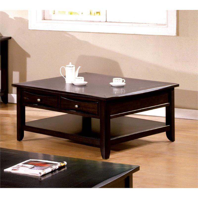Furniture of America Bonner Square Coffee Table in Espresso