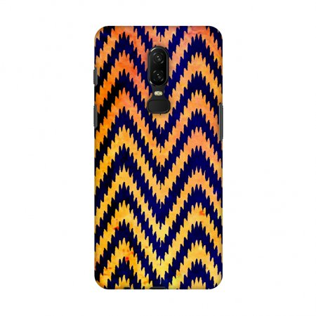 OnePlus 6 Case - Bees - Zig Zag Chevron - Overlay - Electric Blue, Hard Plastic Back Cover, Slim Profile Cute Printed Designer Snap on Case with Screen Cleaning Kit ()