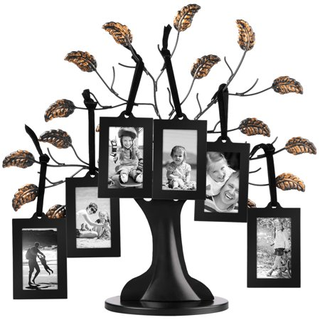 Bronze Family Tree Frame 6 Hanging Picture Frames Sized 2x3 Inches