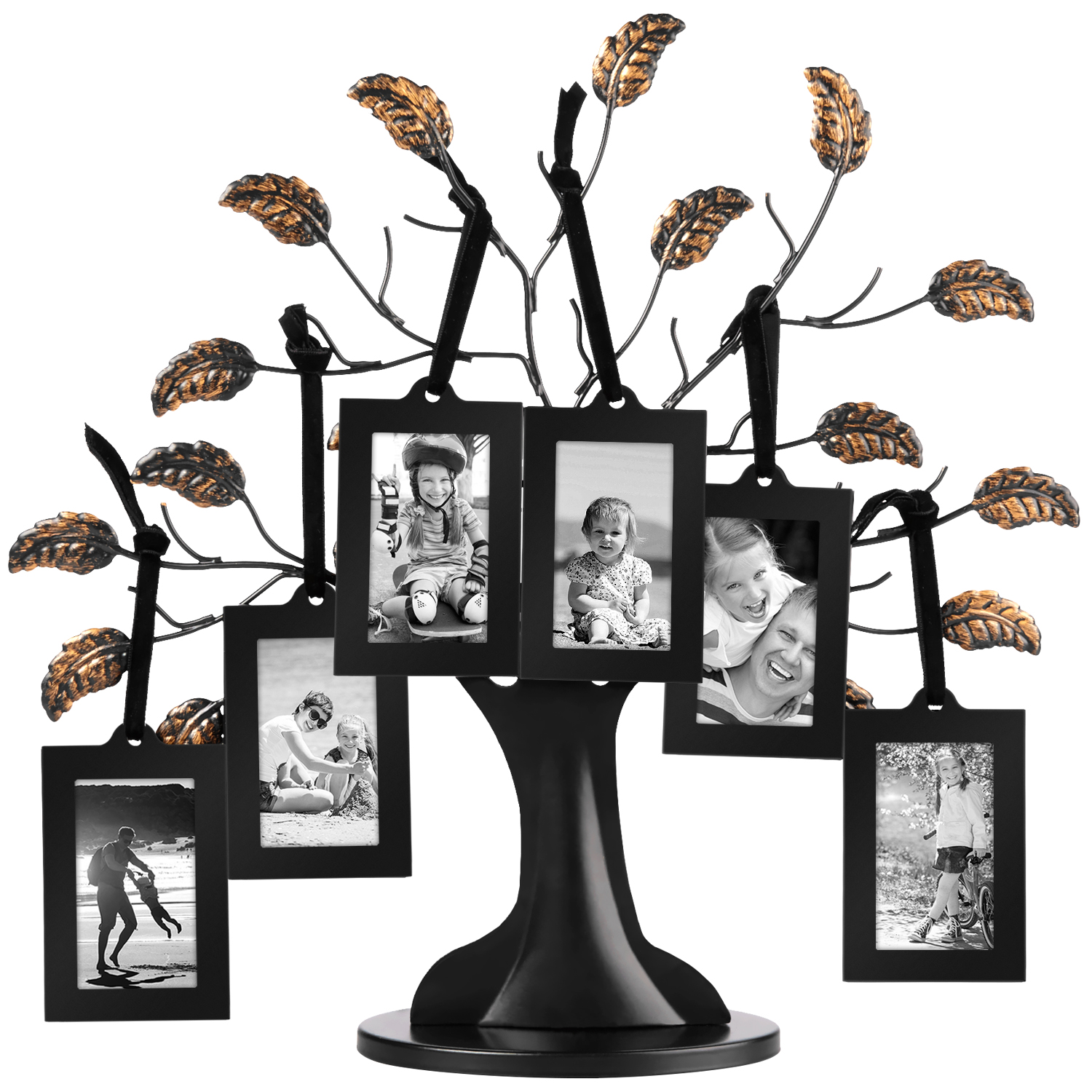 Bronze Family Tree Frame - 6 Hanging Picture Frames Sized 2x3 Inches