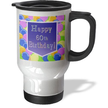 3dRose Balloons With Purple Banner Happy 60th Birthday Travel Mug 14oz Stainless Steel