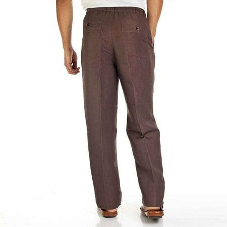 Linen blend drawstring pants for men. SIZE:S COLOR:BRN Cubavera Linen Pants