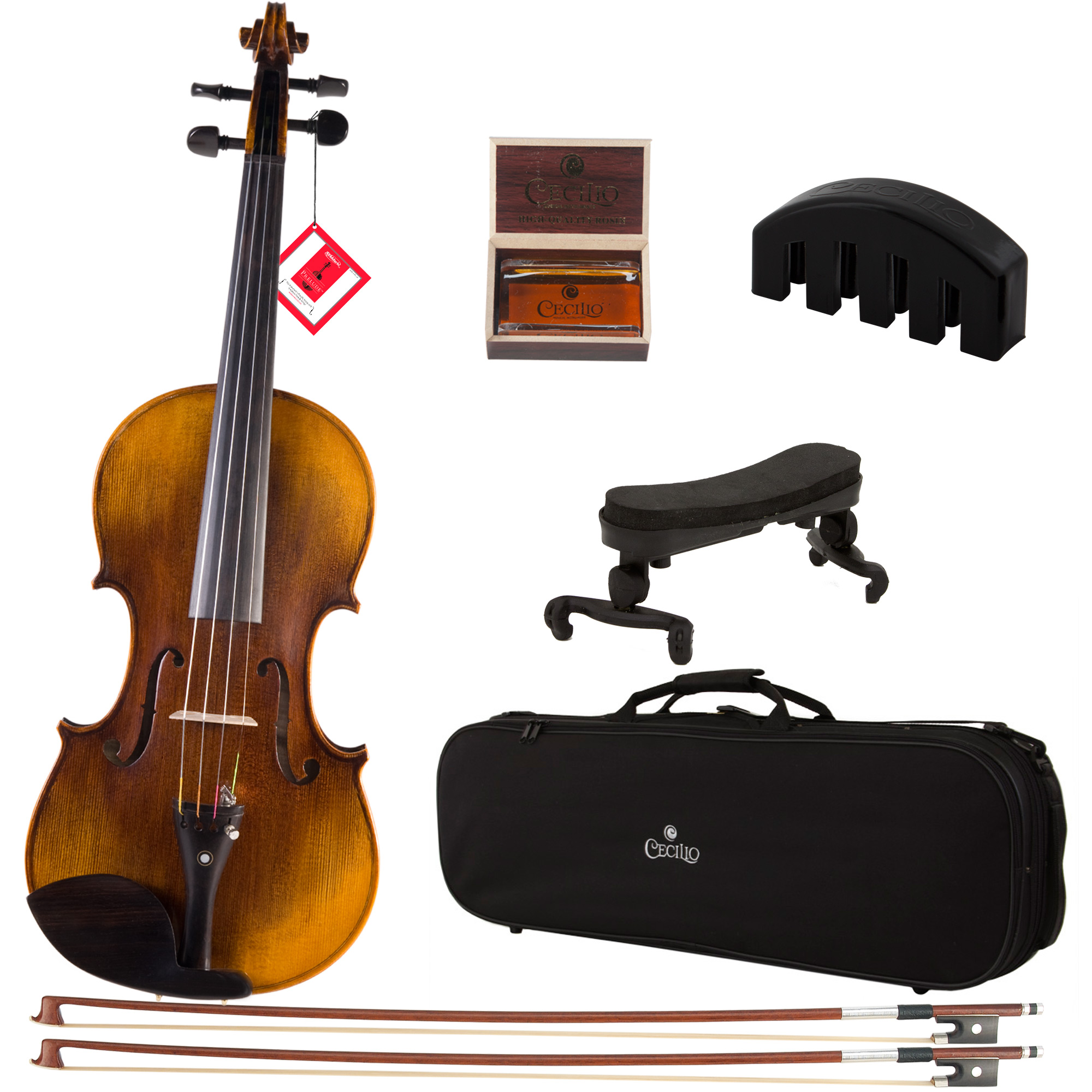 Cecilio Size 4/4 CVN-600 1pcs Back Flamed Ebony Fitted Violin with D'Addario Prelude Strings, Violin Mute, Shoulder Rest