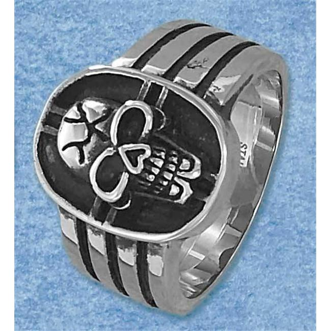 Plum Island Silver SR-3084-14 Stainless Steel Mens Cracked Skull Ring - Size 14