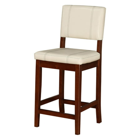Linon Milano Counter Stool, Cream, 24 inch Seat Height