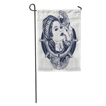 SIDONKU Woman Sailor Tattoo and Pin Up Girl in The Seaman Garden Flag Decorative Flag House Banner 12x18 inch - Sailor Pin Up