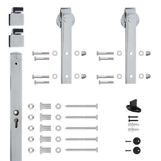 6.6 Ft. Soft Closed Hook Strap Chrome Rolling Barn Door Hardware Kit with 2-3/4 in. Wheel