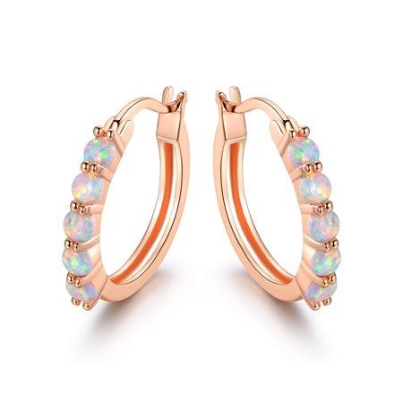 Rose Tourmaline Earrings (Rose Gold Plated White Fire Opal Hoop Earrings)