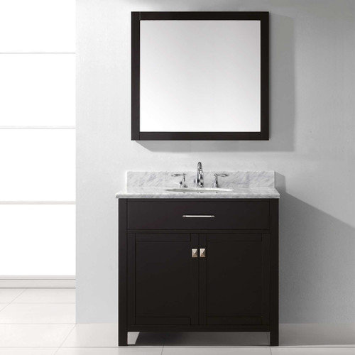 "Virtu Caroline 36"" Single Round Sink Marble Top Vanity in Grey with Mirror"