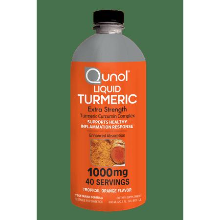 Qunol Liquid Turmeric Curcumin Complex with Bioperine Extra Strength Tropical Orange 1000 mg. - 40 Servings (20