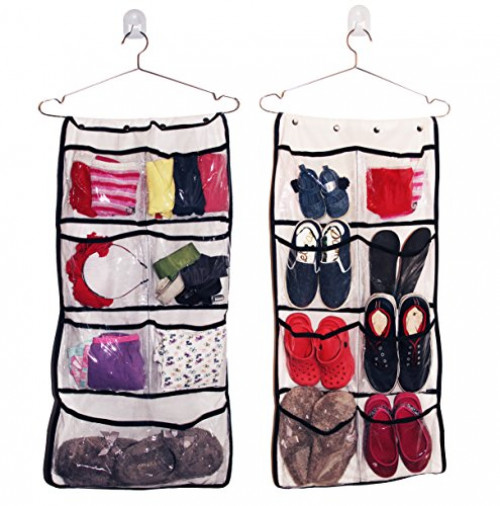 Hanging Organizer 8 Pocket Double Sided Drawer Closet Organizer Holds Jewelery & Accesories