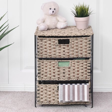 3 Rattan Wicker Baskets Tower Rack Organizer (Rattan Organizer)