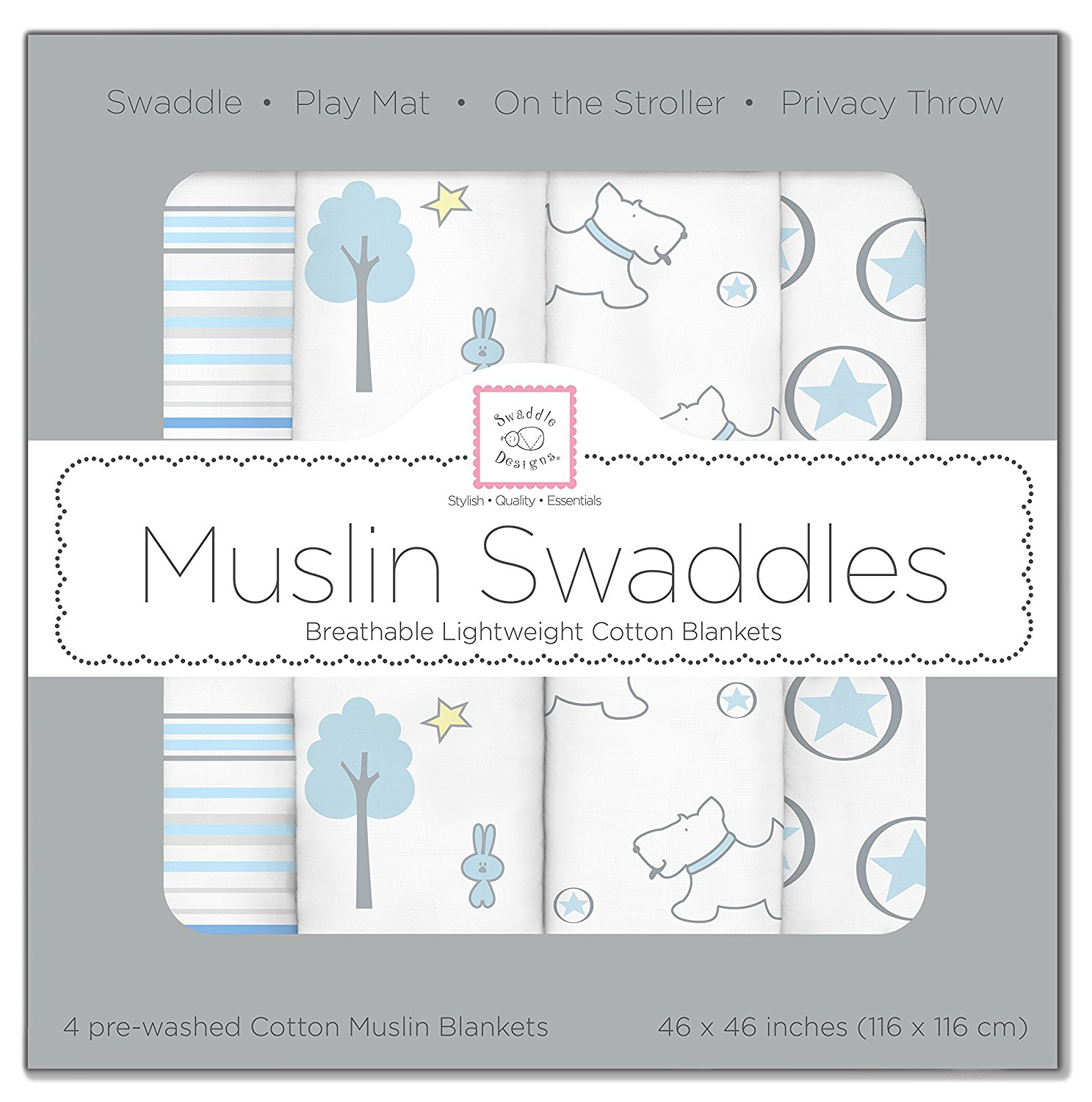 SwaddleDesigns Cotton Muslin Swaddle Blankets, Set of 4, Blue Forest by SwaddleDesigns