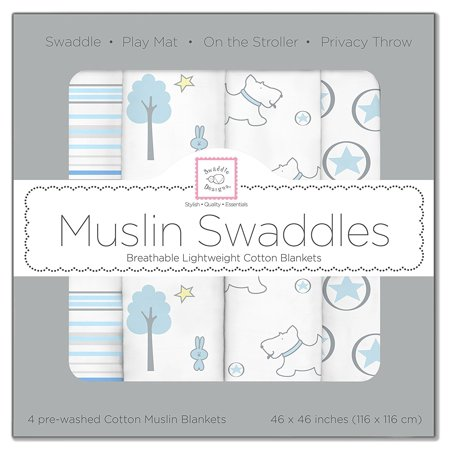 - SwaddleDesigns Cotton Muslin Swaddle Blankets, Set of 4, Blue Forest