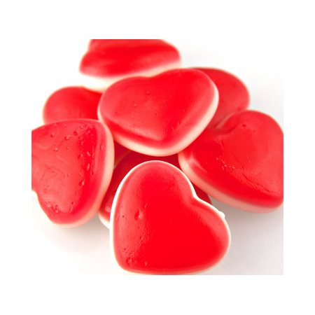 White Belly Gummi Cherry Hearts 1 pound gummy Valentine Candy - White Gummy