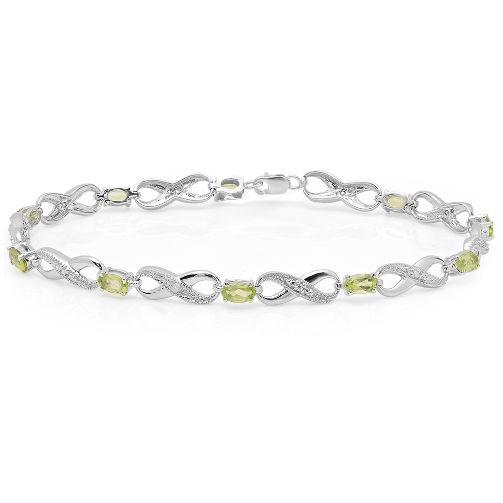 2.38 Carat (ctw) 14K White Gold Real Oval Cut Peridot & Round Cut White Diamond Ladies Infinity Link Tennis Bracelet by DazzlingRock