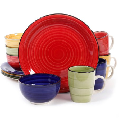 Gibson Home Color Vibes 12 Piece Round Dinnerware Set, Assorted Colors - 10.50