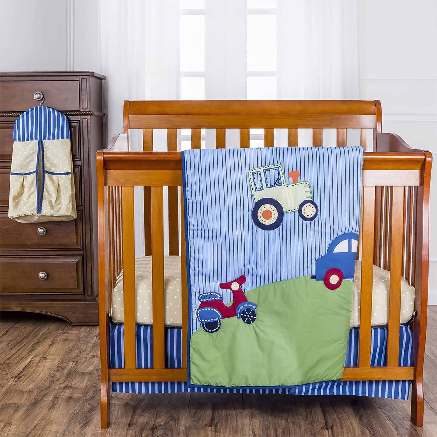 Dream On Me Travel Time 4-Piece Reversible Portable Crib Bedding Set