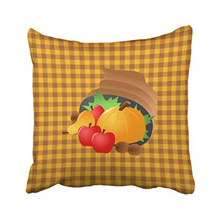 WinHome Decorative Pillowcases Brown And Orange Gingham Cornucopia Thanksgiving Throw Pillow Covers Cases Cushion Cover Case Sofa 18x18 Inches Two Side