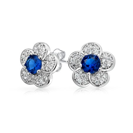 Flower Petals Cubic Zirconia Pave CZ Stud Earrings For Women For Teen Simulated Sapphire Center Silver Plated Brass
