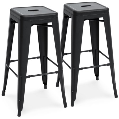 Best Choice Products 30in Metal Modern Industrial Bar Stools with Drainage Holes for Indoor/Outdoor Kitchen, Island, Patio, Set of 2, Matte Black ()