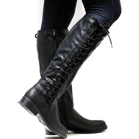 Womens Knee High Boots Ladies Flat Side Lace Up Motorcycle Riding Shoes