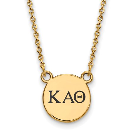 Sterling Silver w/ 14K Yellow Gold-Plated 18in Official Licensed Greek Sororities Kappa Alpha Theta (???) XS Enamel Pendant w/Necklace