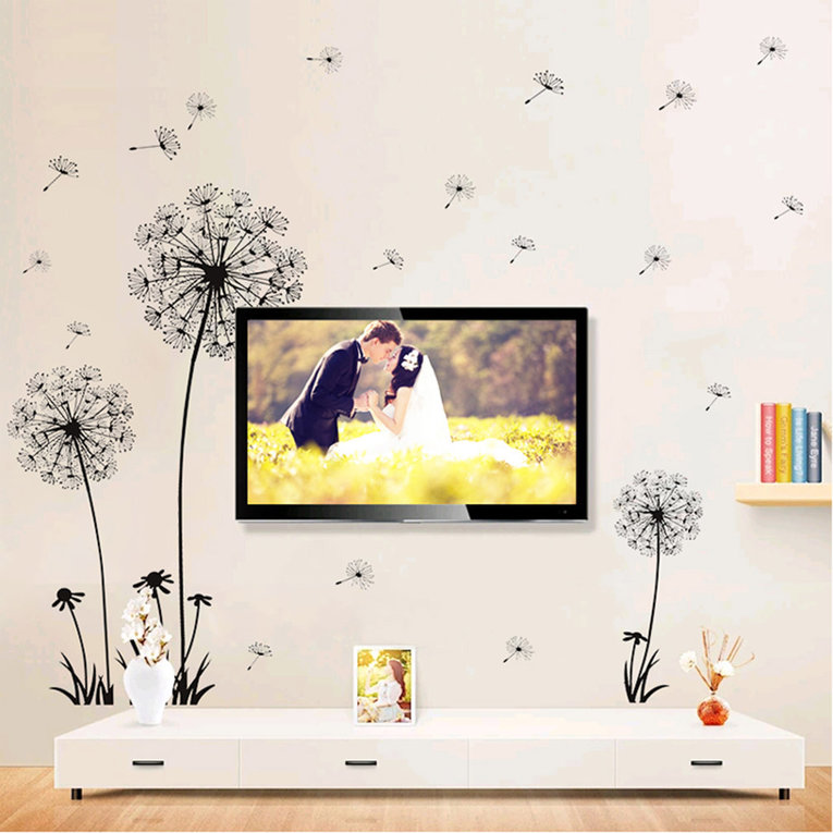 Black Dandelion Wall Stickers Living Room Bedroom Dream Flying Home Decor