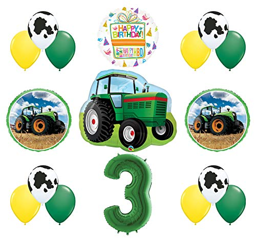 Mayflower Products 3rd Birthday Farm Tractor Balloon Bouquet Decorations and Party Supplies - Tractor Birthday Supplies