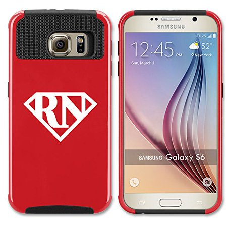 For Samsung Galaxy (S7 Edge) Shockproof Impact Hard Soft Case Cover Registered Nurse Super RN (Red) - Red Nurse Outfit