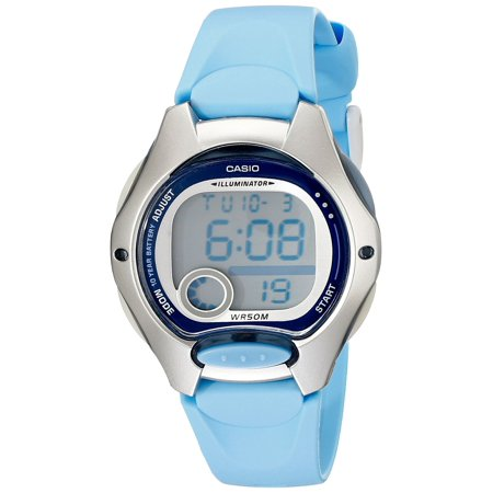 Women's LW200-2BV Digital Blue Resin Strap Watch, Sport watch with dual time display featuring stopwatch, alarm, and LED light By Casio