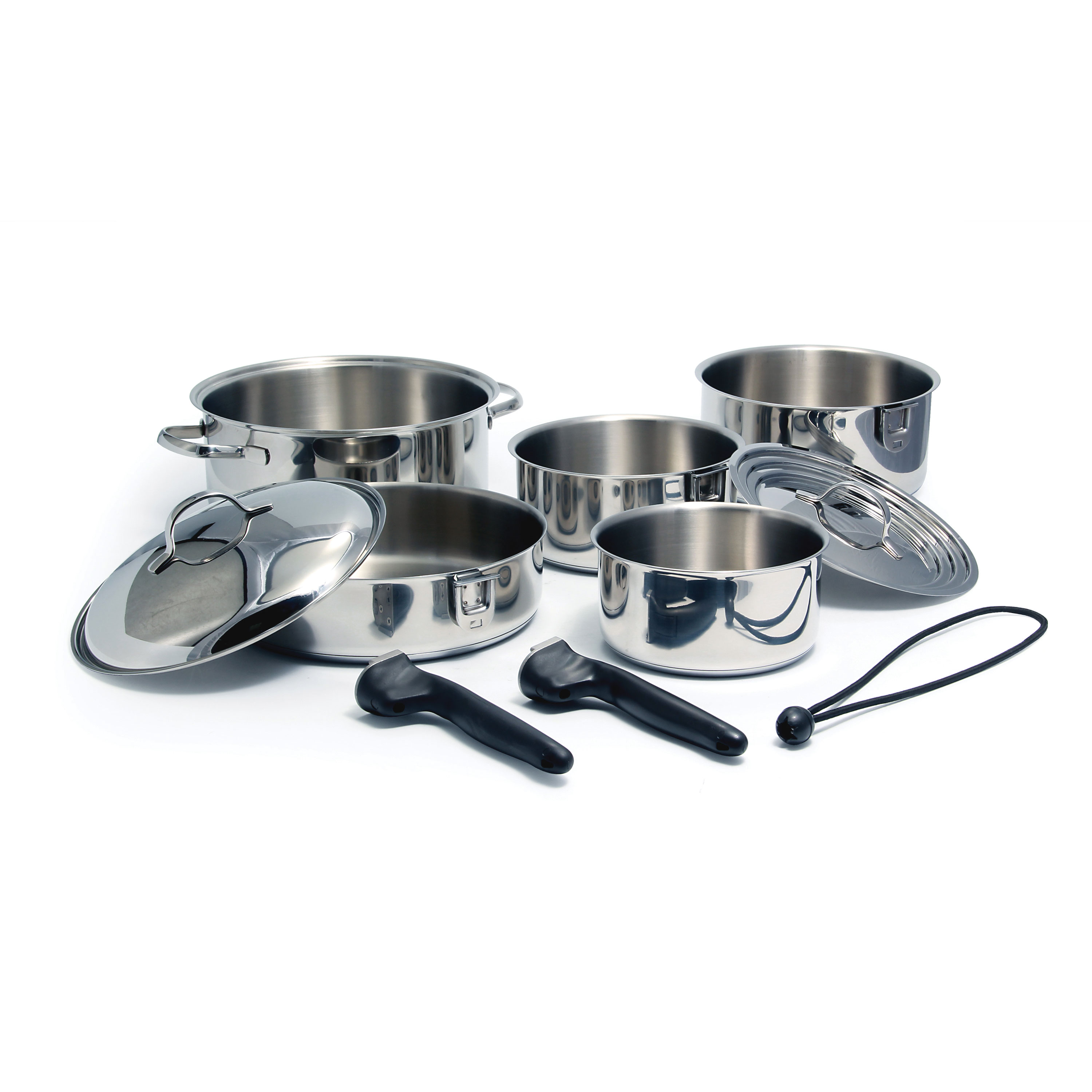 Camco Mfg 43921 Cookware 10 Pc Set Nesting Stainless Steel