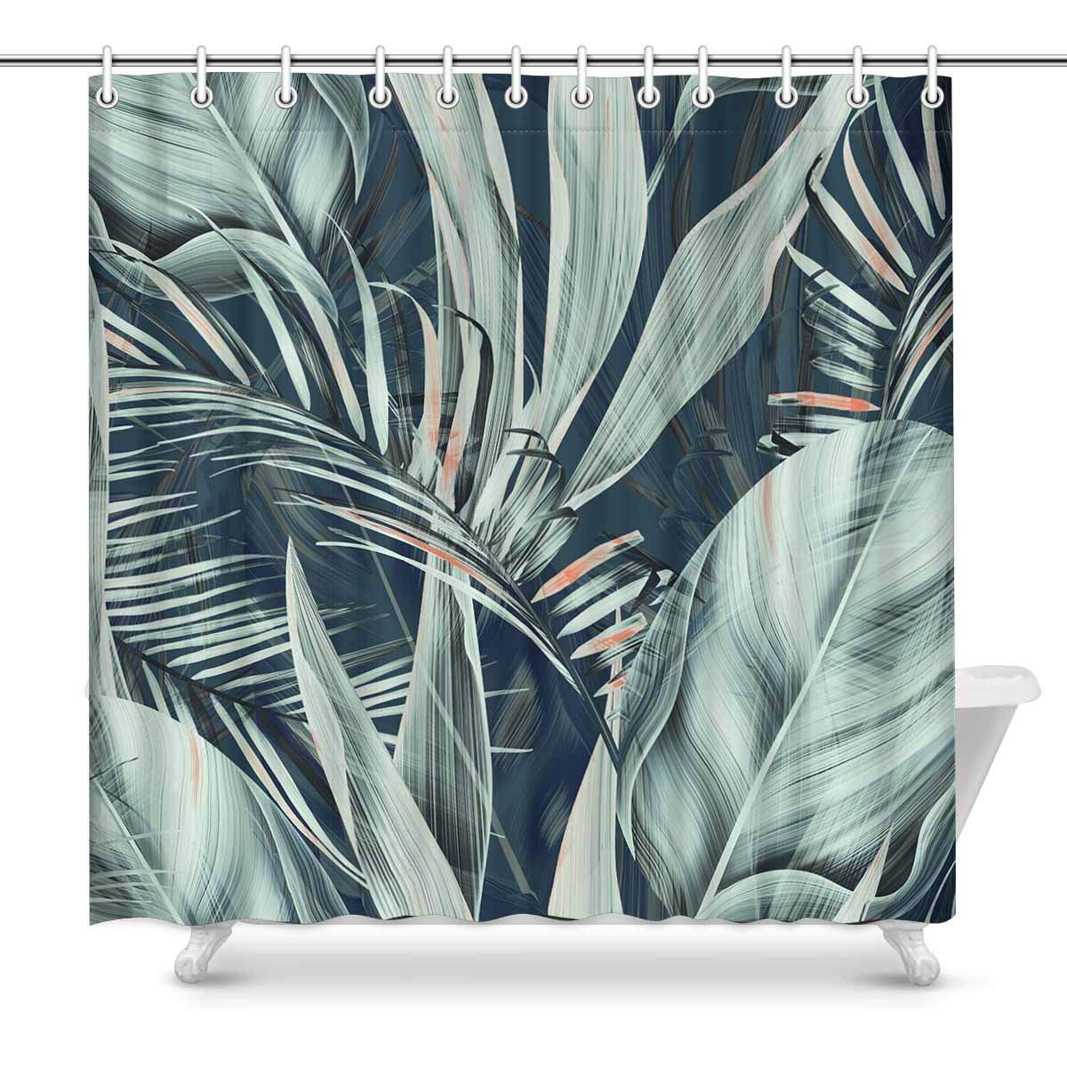 GCKG Tropical Flower Plant Leaf Pattern Shower Curtain Retro Botanical Style Polyester Fabric Bathroom Sets 66x72 Inches