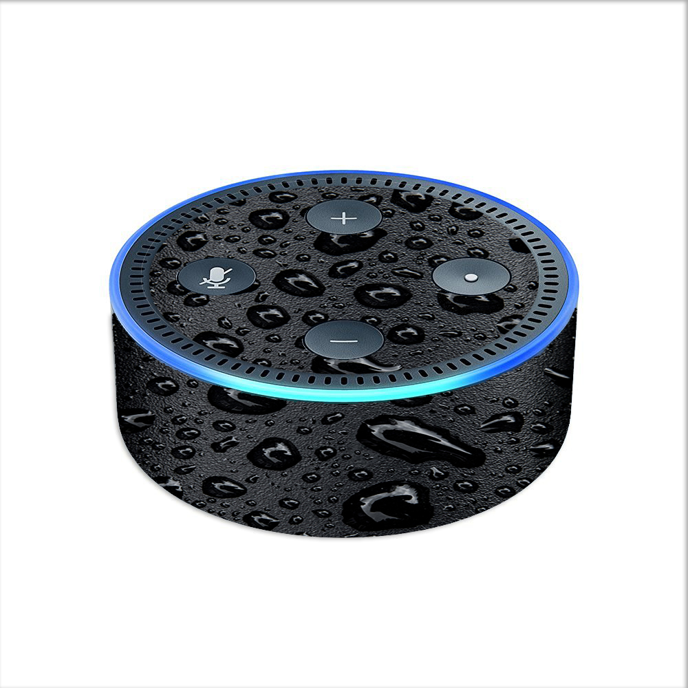 Skin Decal For Amazon Echo Dot 2 (2Nd Generation) / Rain Drops On Black Metal