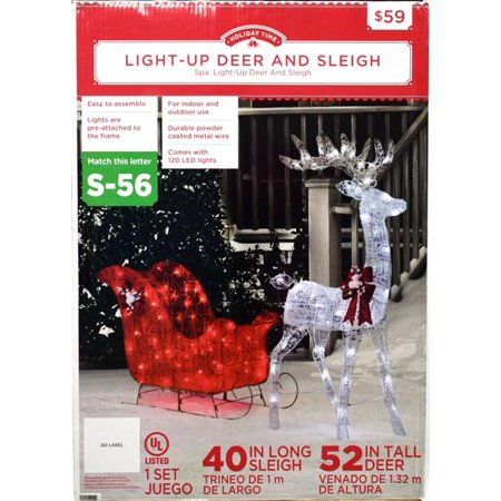 Holiday Time 52 In. 140-light Deer Penguin On Sled