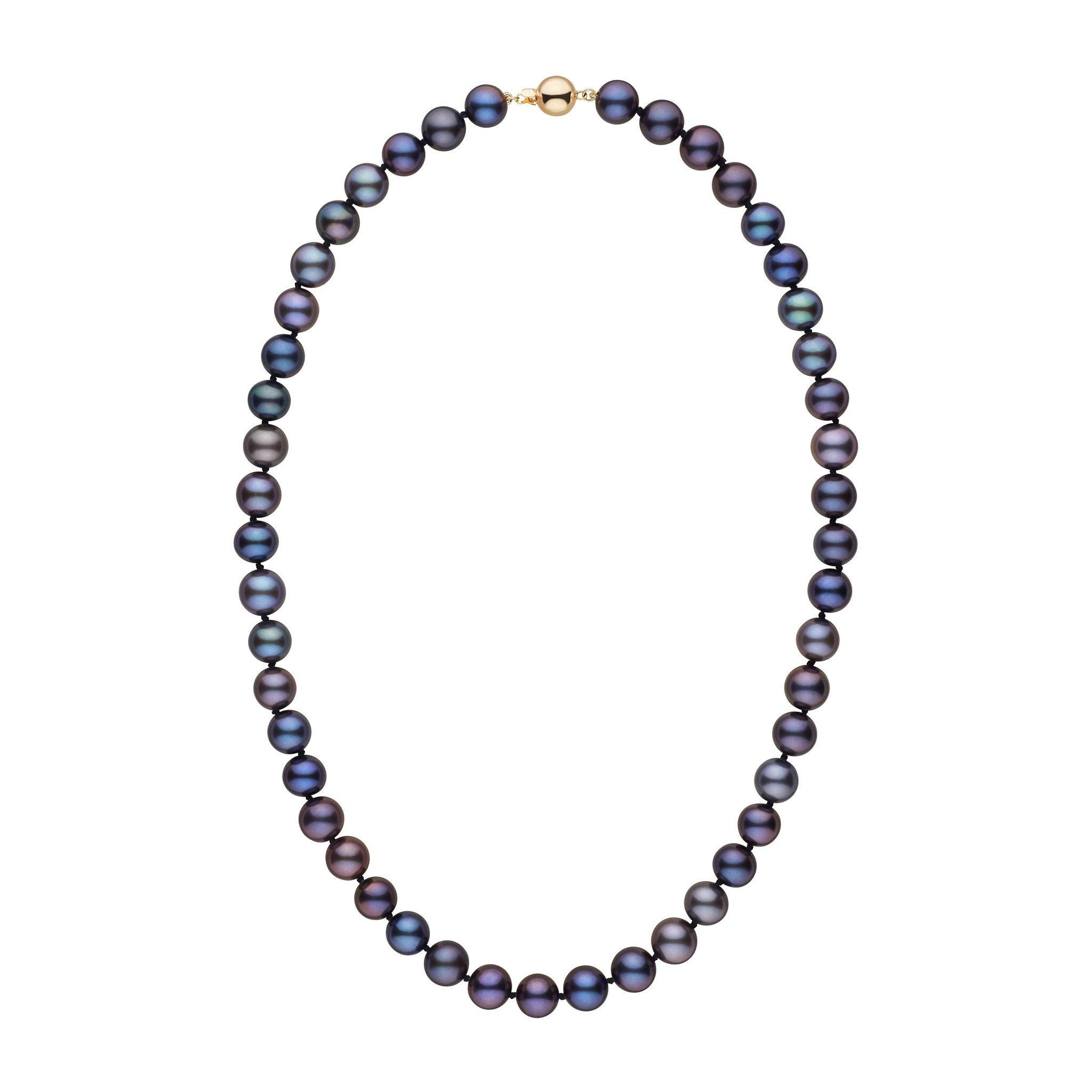 8.5-9.0 mm 16 Inch AAA Black Freshwater Pearl Necklace by Pearl Paradise