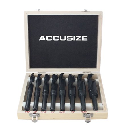 """Accusize - 8 Pcs/Set HSS 1/2'' Shank S&D Drill in Metal Box 9/16'' to 1"""", #H516-6502 - image 6 of 6"""