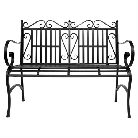 Ktaxon 2-Seater Foldable Outdoor Patio Garden Bench Porch Chair Seat with Steel Frame Solid Construction ()