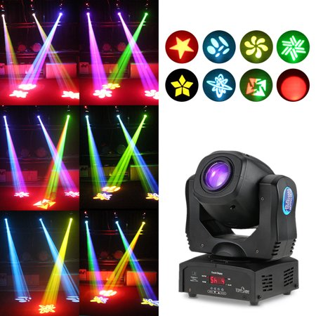 Tomshine Total Power 80W DMX512 Sound Control Auto Rotating 9 / 11 Channels Rainbow 8 Colors Changing Head Moving Light LED Stage Gobo Pattern Lamp for Disco KTV Club Party](Rainbow Led Light)